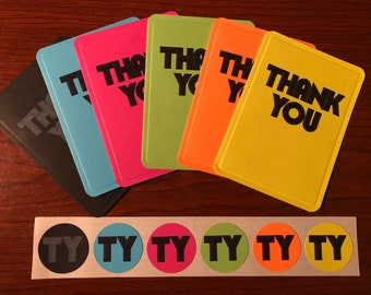 Minimalist Neon Thank You Cards - Set or Individual