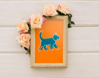 Blue and Orange Kitty Cat Walking --- ART PRINT