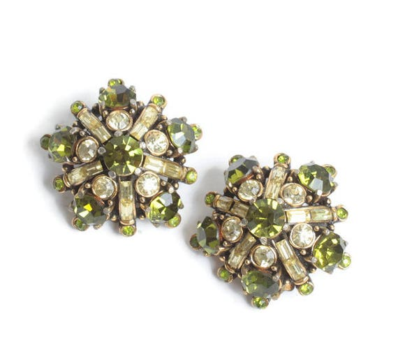 Hollycraft Green and Clear Rhinestone Earrings Star Shaped Vintage