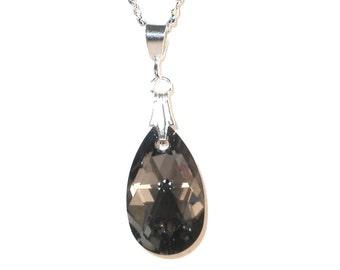 16mm Pear SILVER NIGHT BLACK Crystal Pendant Sterling Swarovski Element