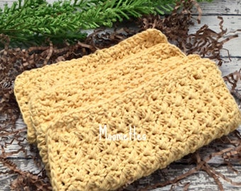 Handmade Dish Cloths Yellow Crochet Kitchen Cleaning Cloth Wash Cloth Eco Friendly Cotton Dishcloth Set of 3
