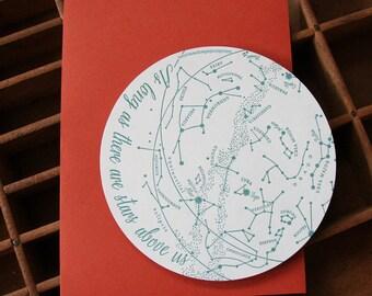 letterpress constellations die cut card