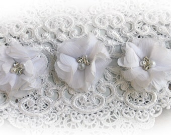 Reneabouquets Flower Set -White Chiffon Pearl And Rhinestone Fabric Flowers
