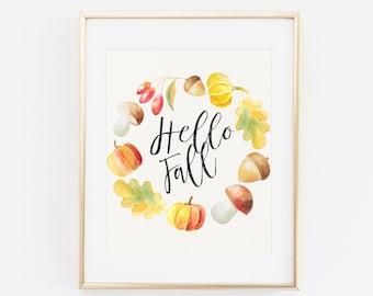Hello fall, Printable Wall Art, Fall print, Hello fall print, Fall leaves print, Fall decor, Autumn wall art, Autumn printable Autumn decor