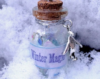 Winter Magic Bottle Necklace - Celebrate the Season! Bottle Jewelry, Blacklight/UV Reactive Magic in Every Bottle!