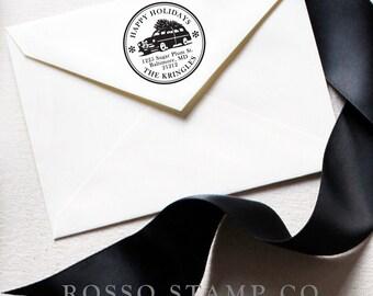 Christmas Address Stamp - Christmas Tree Return Address Stamp - Christmas Stamp - Holiday Return Address Stamp - Personalized Address Stamps