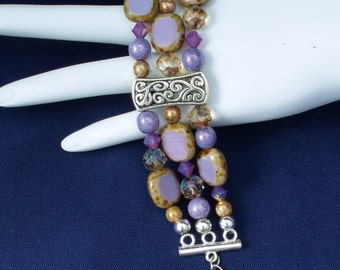 Lilac Picasso Tiles, Amethyst Gold Dust & Lavender Luster Beaded Three Strand Bracelet