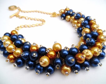 Navy Blue and Mustard Yellow Pearl Necklace, Bridesmaid Jewelry, Cluster Necklace, Chunky Necklace, Bridesmaid Gift, Pearl Wedding Jewelry
