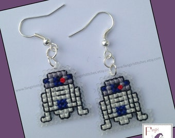 Star Wars inspired R2-D2 cross stitch earring KIT - all you need to make your own pair