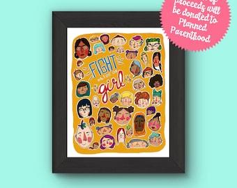 Fight Like A Girl Feminist Illustration Art Print