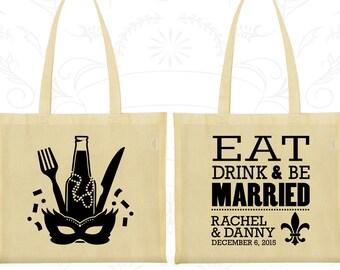 Eat Drink and Be Married Bags, Bags, Nola Wedding Bags, Mardi Gras Wedding Bags, Fleur De Lis, Custom Printed Bags (420)