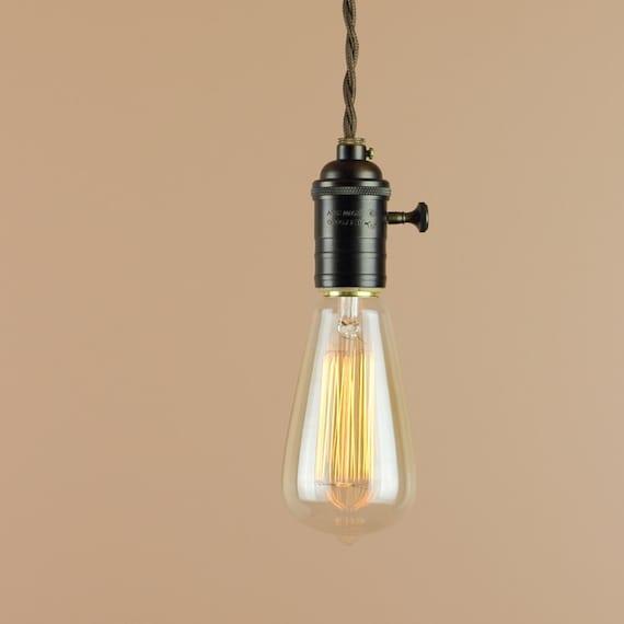 industrial lighting bare bulb light fixtures. Industrial Lighting W/ Edison Light Bulb And Large Turn Key - Pendant Antique Reproduction Cloth Wire Farmhouse Style Home Decor Bare Fixtures R