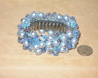 Vintage Signed Japan Stretch Cha Cha Bracelet With Fantastic Blue Cut Crystal 1960's Jewelry 1040