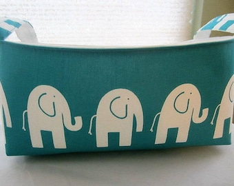 Long Diaper Caddy Fabric Organizer Basket Container Bin Storage - Turquoise With White Elephants