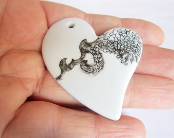 Heart Black and White ceramic pendant - OOAK - like lace