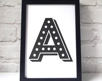 Marquee Light Alphabet Print