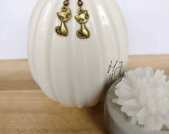 Earrings cat, earrings bronze, earrings animals, earrings pets