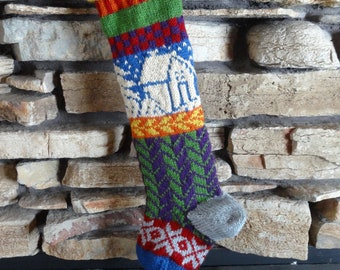 Personalized Knit Christmas Stocking, Hand Knit Christmas Stocking, Knitted Christmas Stocking, Personalized Christmas Stocking, Blue Cabin