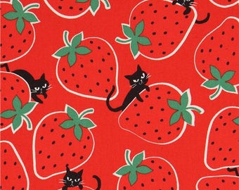214018 red with cute strawberry black cat oxford fabric by Kokka
