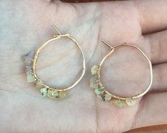 Gold and opal hoop earrings