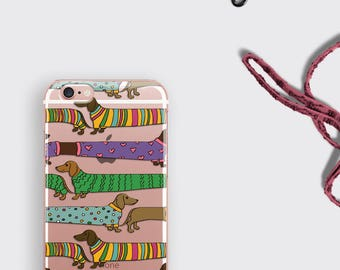Dachshund Phone Case Doxie iPhone 6 Case iPhone 7 Case - Clear Transparent iPhone 7 Plus Case Sausage Dog Lover Gift Samsung Galaxy S7 Case