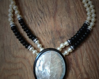 Vintage Doublestrand Black and White Statement Necklace
