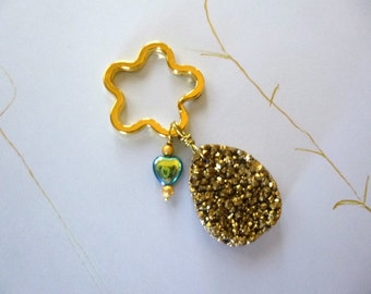 Druzy Key Chain with Heart, Druzy Key Ring with Heart, Christmas Gift, Birthday Gift, Friend Gift, K55