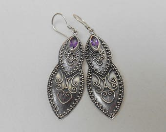 Solid sterling silver marquise Amethyst gemstone dangle earrings / Silver 925 / Bali Jewelry / 2.25 inches long / (#40ez)