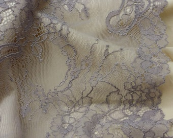 Purple stretch Lace Trim, Chantilly Lace, French Lace, Bridal gown, Wedding Lace, Garter lace, Evening dress lace Lingerie Lace yard L50101