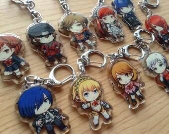 Persona 3 Acrylic keychain, Persona 3, Minato, Minako, Shinjiro, Akihiko, Ken, Mitsuru, Junpei, Chidori, Aigis, Yukari, anime keychain