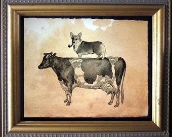 Welsh Corgi Dog Riding Cow - Vintage Collage Art Print on Tea Stained Paper - dog art - dog gifts -- father's day gift- graduation gift