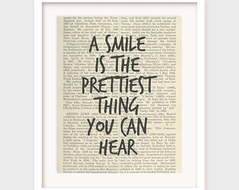 Instant Download Printable Art, A Smile is The Prettiest Thing You Can Hear, Printable Quote Downloadable