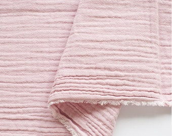 "Pink Wrinkled Cotton Gauze, Double Gauze, Light Pink Color Gauze, Crinkle Gauze, Yoryu Gauze - 59"" Wide - By the Yard 95369"