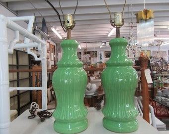 Grasshopper Green Ceramic Lamps