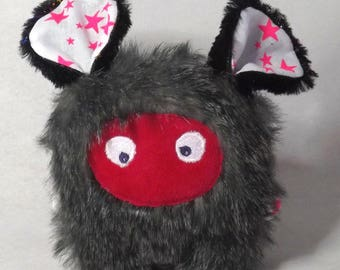 "Unique and original plush ""mini-bestiole"" gray, black and Fuchsia pink"