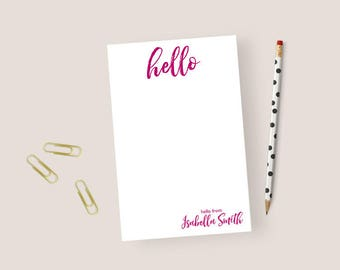 Hello Notepad Personalized Notepad Hello, Personalized Stationery Notepad, Personalized Stationary Notepad, Personalized Note Pads 5.5 x 8.5