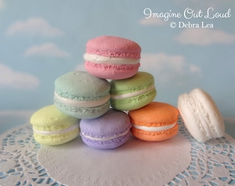 FAUX MACARON SEVEN Pastel Flavors Fake Macaron Macaroon Cookies Food Prop Photo Pastel Kitchen Decor Display Fake Food