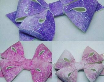 Sparkling Glitter Star Hair Bow Bobble Alligator Clip Headband Girl Baby