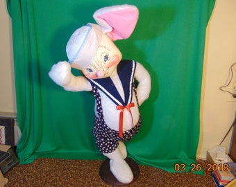 """One (1), 36"""" Tall, Annalee, Bunny Sailor Doll, Mounted on Stand, with Original Tags."""