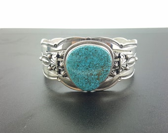 Navajo Kingman spider web turquoise cuff bracelet-sterling silver