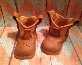 Two Tone Brown Fondant Boots
