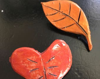 Leaf and Heart Ceramic Nature Pinset