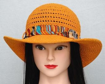 women sun hat crochet hat beach hat wide brim hat orange hat ladies hats traveler gift casual hat beach accessories holiday gift for her