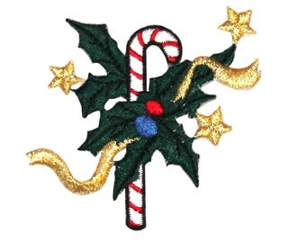 ID 8188A Candy Cane With Holly Patch Christmas Decor Embroidered IronOn Applique