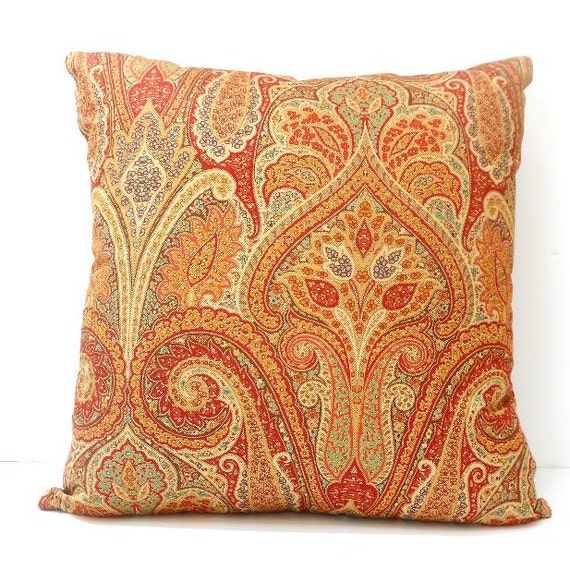18x18 Waverly Pillow Cover Gold Rust Peach Taupe Decorative