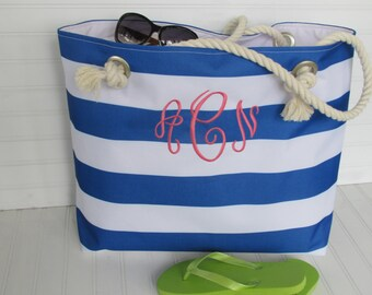 WATERPROOF Nautical Extra Large Beach Tote Bag  Boat Bag  Sailor Stripes Rope Handle Pool Bag Ready to Ship