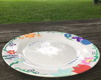 Large Flower Painted Plate