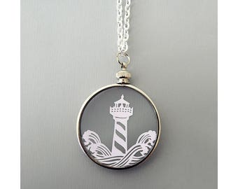 Papercut Lighthouse Necklace- Original Handcut Paper in Glass Pendants with Silver Chain