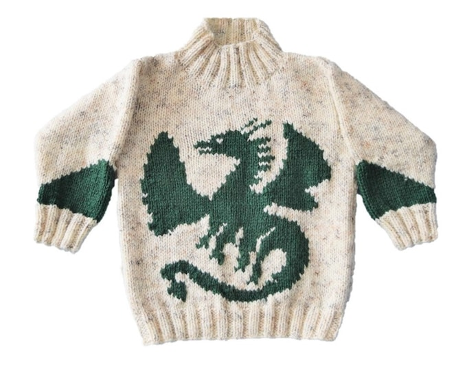 Knitting pattern for boys and girls dragon sweater, Dragon Aran jumper and hat, 10 ply Children's knitting pattern, Digital download pdf