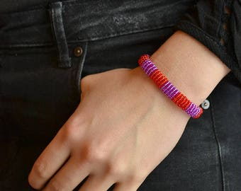 knitted beaded dual color bracelet